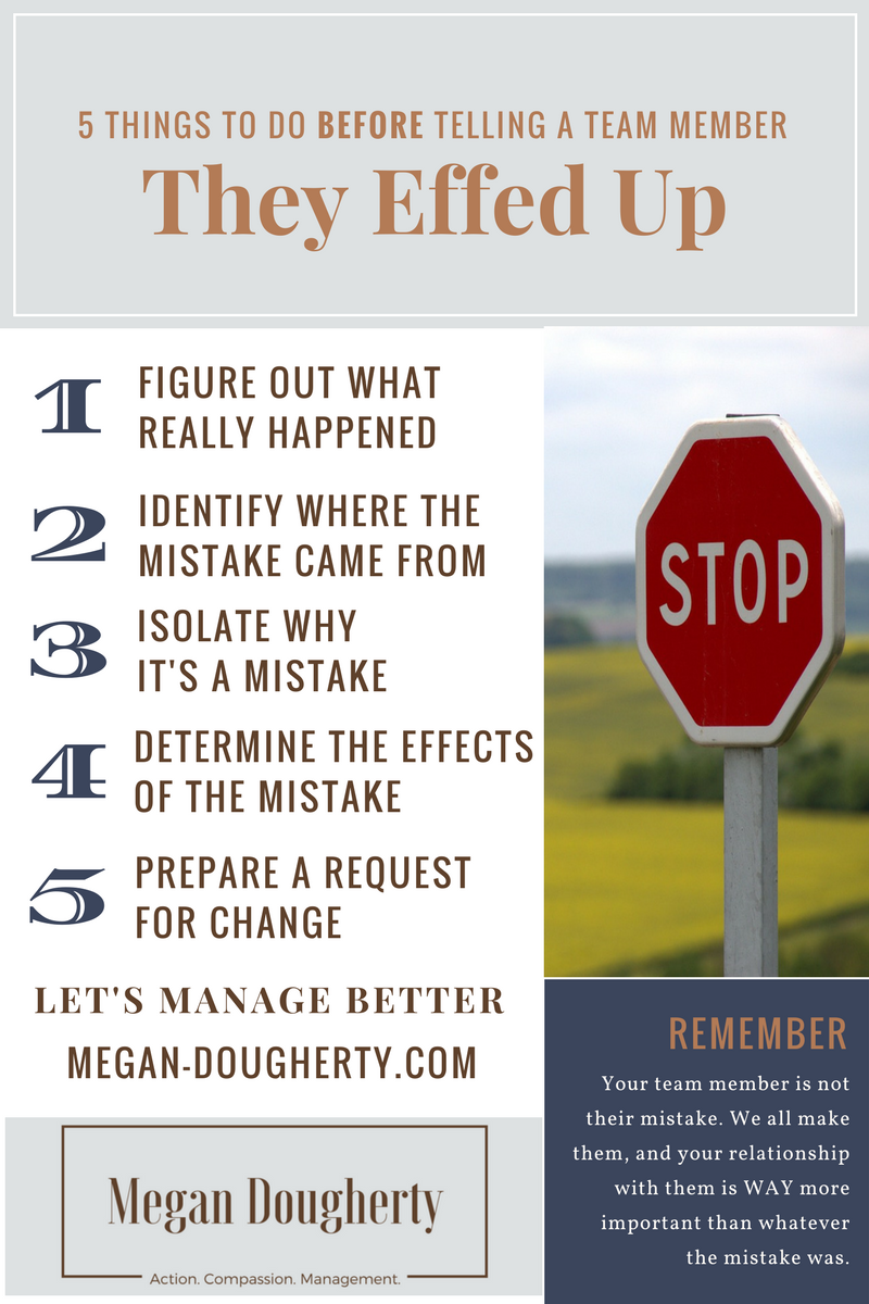 Infographic with a stop sign and a list of the 5 things to do from the post as well as a reminder that your team member is not their mistake